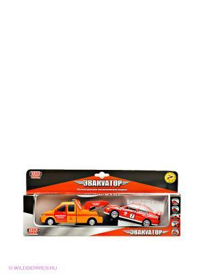 Эвакуатор аварийный с машинкой Технопарк. Цвет: красный, оранжевый