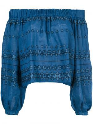 Блузка с открытыми плечами и вышивкой Vita Kin. Цвет: синий