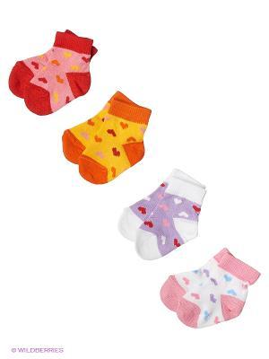Носки, 4 пары Гамма. Цвет: желтый, белый, сиреневый, розовый