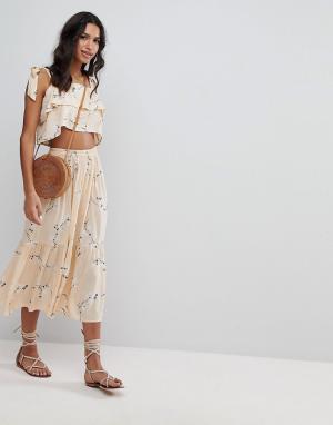 Faithful the Brand Комбинируемая юбка миди с цветочным принтом Faithfull. Цвет: желтый