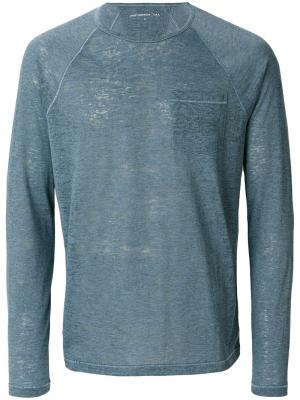 Long sleeve T-shirt John Varvatos. Цвет: синий