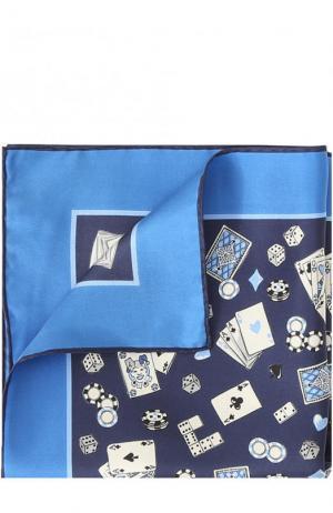 Шелковый платок с принтом Kiton. Цвет: темно-синий