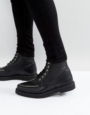ASOS Черные кожаные криперы на шнуровке с отделкой молнией. Цвет: черный