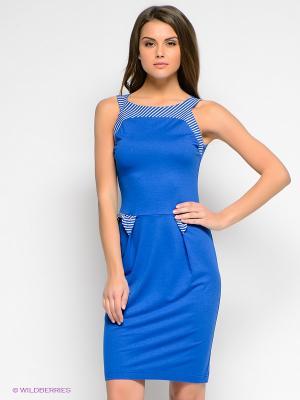 Платье V&V. Цвет: синий, белый