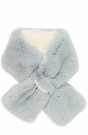 Шарф из меха кролика Yves Salomon Enfant. Цвет: голубой