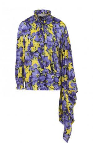 Шелковая блуза асимметричного кроя с принтом Balenciaga. Цвет: фиолетовый