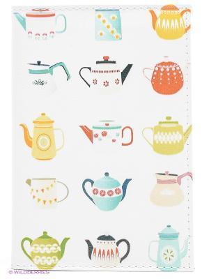 Обложка для автодокументов Заварные чайники Mitya Veselkov. Цвет: белый, желтый