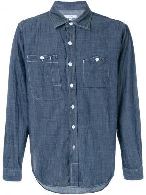 Рубашка с контрастной строчкой Engineered Garments. Цвет: синий