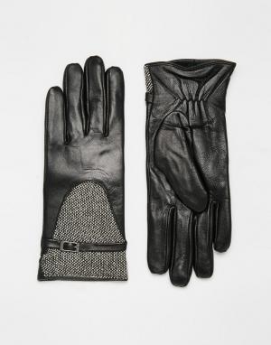 Totes Кожаные перчатки со вставками из твида с люрексом. Цвет: черный