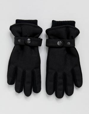 New Look Черные перчатки с подкладкой и ремешком. Цвет: черный