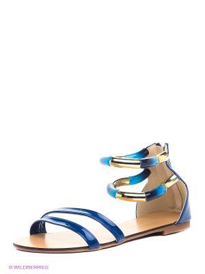 Сандалии INARIO. Цвет: синий, золотистый