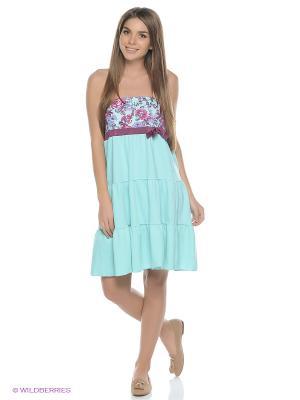 Платье KrisLine. Цвет: бирюзовый, лиловый