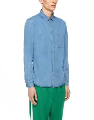 Рубашка из денима Ami. Цвет: синий