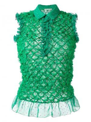 Фактурная блузка с оборками Marco De Vincenzo. Цвет: зелёный
