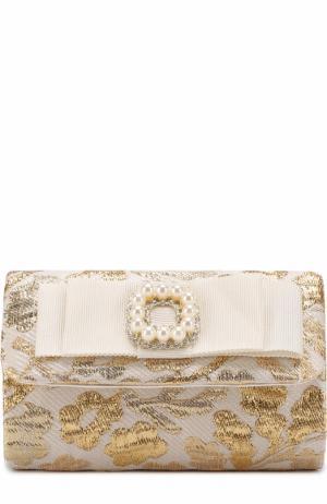 Текстильный клатч с металлизированной отделкой и декором David Charles. Цвет: белый