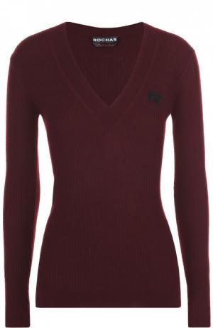 Пуловер фактурной вязки с V-образным вырезом Rochas. Цвет: бордовый