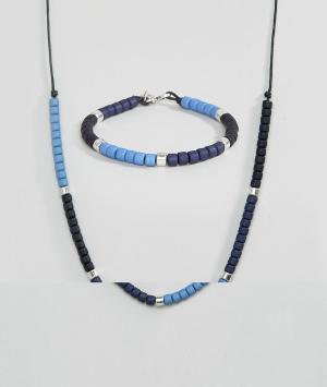 Icon Brand Браслет и ожерелье с бусинами в комплекте. Цвет: синий