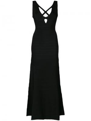 Длинное платье Sianna Hervé Léger. Цвет: чёрный