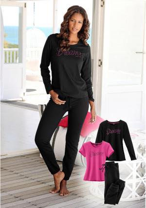 Пижама, 3 части VIVANCE. Цвет: ярко-розовый/черный