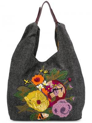 Сумка на плечо с цветочной вышивкой Jamin Puech. Цвет: чёрный