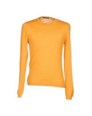 Джемпер с круглым вырезом GAZZARRINI. Цвет: оранжевый