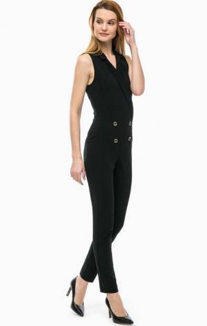 Черный комбинезон с декоративными пуговицами Patrizia Pepe. Цвет: черный