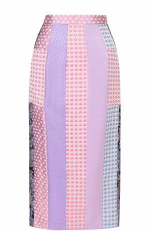 Юбка-карандаш с разрезом Natasha Zinko. Цвет: разноцветный