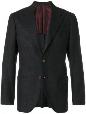 Деловой пиджак Kiton. Цвет: синий