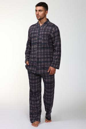 Пижама: брюки и кофта Maori. Цвет: серый, синий