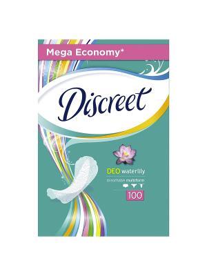 Женские гигиенические прокладки на каждый день Deo Water Lily, 100шт DISCREET. Цвет: белый, темно-синий