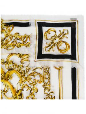 Платок Baroccoflage с принтом Versace. Цвет: белый