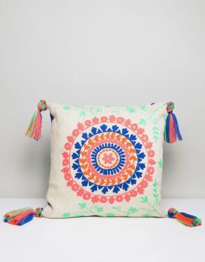 America & Beyond Чехол на подушку с неоновой вышивкой и кисточками. Цвет: мульти