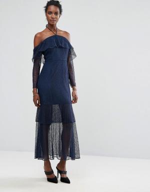 Keepsake Платье макси с рюшами Wide Awake. Цвет: темно-синий