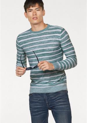 Пуловер JOHN DEVIN. Цвет: зеленый/белый в полоску