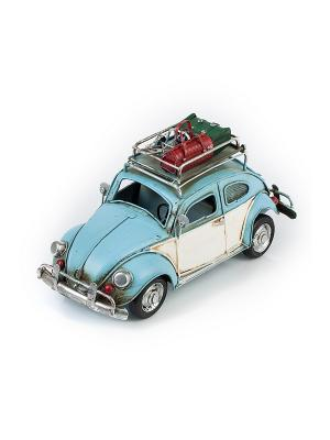 Модель Ретро Автомобиль голубой, с фоторамкой и копилкой 4х7см PLATINUM quality. Цвет: голубой