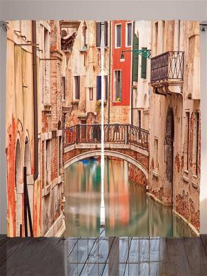 Комплект фотоштор Мостик над водой в парке, на разноцветной набережной и улице Венеции, 290*265 см Magic Lady. Цвет: бежевый, бледно-розовый, красный, оранжевый, горчичный, черный, коричневый