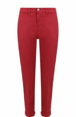 Укороченные хлопковые джинсы прямого кроя Two Women In The World. Цвет: красный