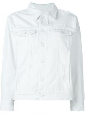 Джинсовая куртка с потертой отделкой Steve J & Yoni P. Цвет: белый