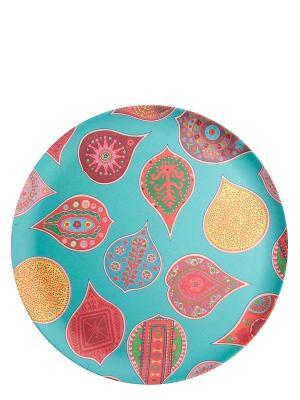 Набор обеденных тарелок Индиа Блу Ecowoo. Цвет: бирюзовый, розовый, желтый