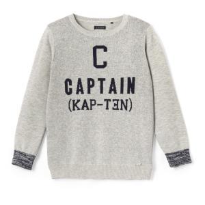 Пуловер с круглым вырезом, из тонкого трикотажа IKKS JUNIOR. Цвет: серый меланж