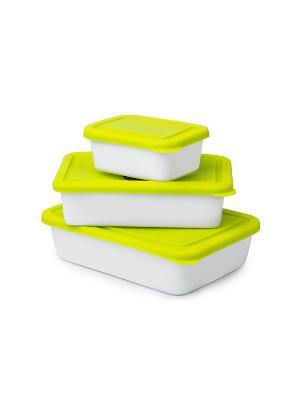 Набор керамических форм с силиконовыми крышками OURSSON. Цвет: зеленый