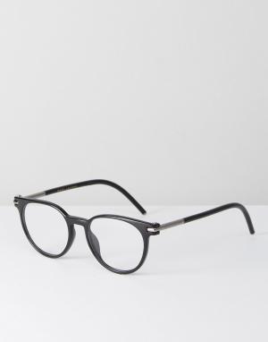 Marc Jacobs Черные круглые очки с прозрачными стеклами. Цвет: черный