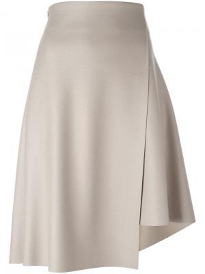 Асимметричная юбка с запахом 08Sircus. Цвет: телесный