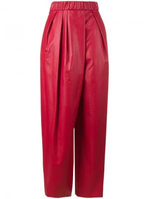 Спортивные брюки с высокой талией Vika Gazinskaya. Цвет: красный