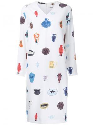 Платье с принтом ваз Taro Horiuchi. Цвет: белый