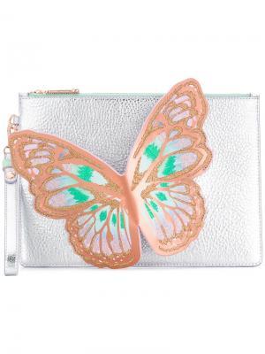 Клатч с ручкой-бабочкой Sophia Webster. Цвет: металлический