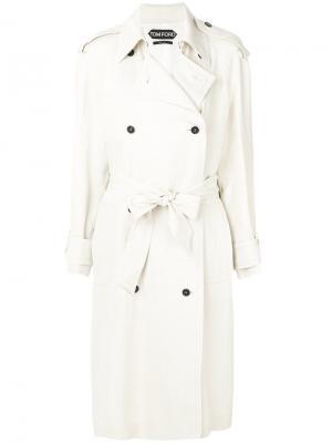 Двубортное пальто с поясом Tom Ford. Цвет: белый