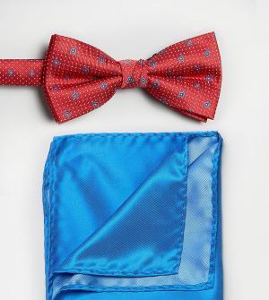 Selected Красный галстук-бабочка и однотонный платок для нагрудного кармана Sel. Цвет: красный
