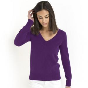Пуловер с V-образным вырезом, 100% кашемира R essentiel. Цвет: желтый абсент