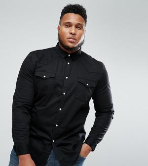 ASOS Черная джинсовая рубашка в стиле вестерн PLUS. Цвет: черный
